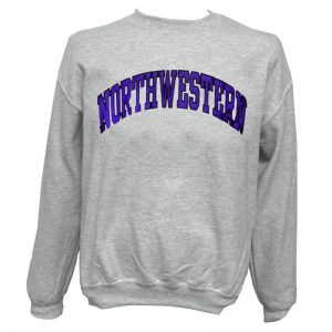 Northwestern Wildcats Light Grey Crewneck Sweatshirt with Full Chest Embroidered Northwestern Design