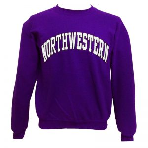 Northwestern Wildcats Purple Crewneck Sweatshirt with Full Chest Embroidered Northwestern Design