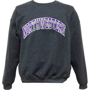 Northwestern Wildcats Charcoal Crewneck Sweatshirt with Full Chest Embroidered Northwestern Design