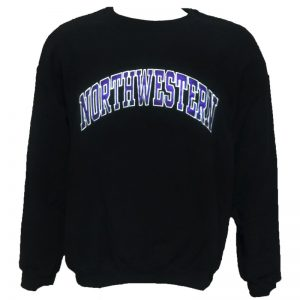 Northwestern Wildcats Black Crewneck Sweatshirt with Full Chest Embroidered Northwestern Design