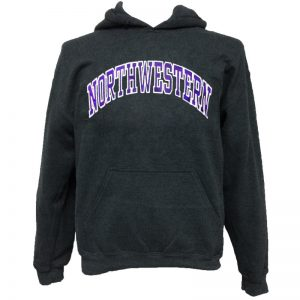 Northwestern Wildcats Charcoal Hooded Sweatshirt with Full Chest Embroidered Northwestern Design