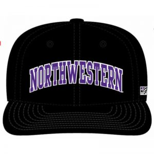 Northwestern Wildcats Black Fitted Hat with Arched Northwestern Design