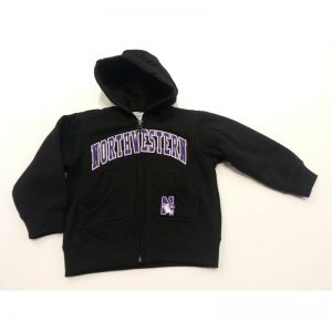 Northwestern Wildcats Black Youth Zip-Hood Sweatshirt