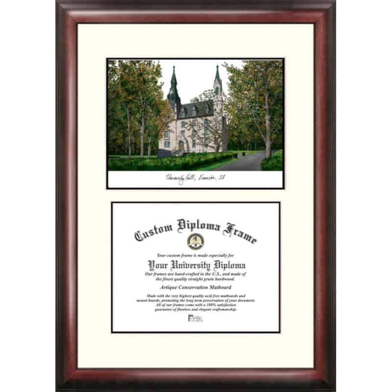 Northwestern University Scholar Framed Lithograph with Diploma Openning - Bookstore Quality