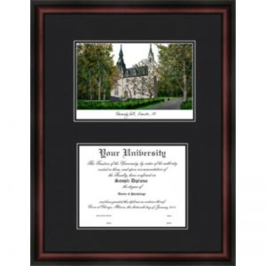 Northwestern University Diplomate Framed Lithograph with Diploma Openning