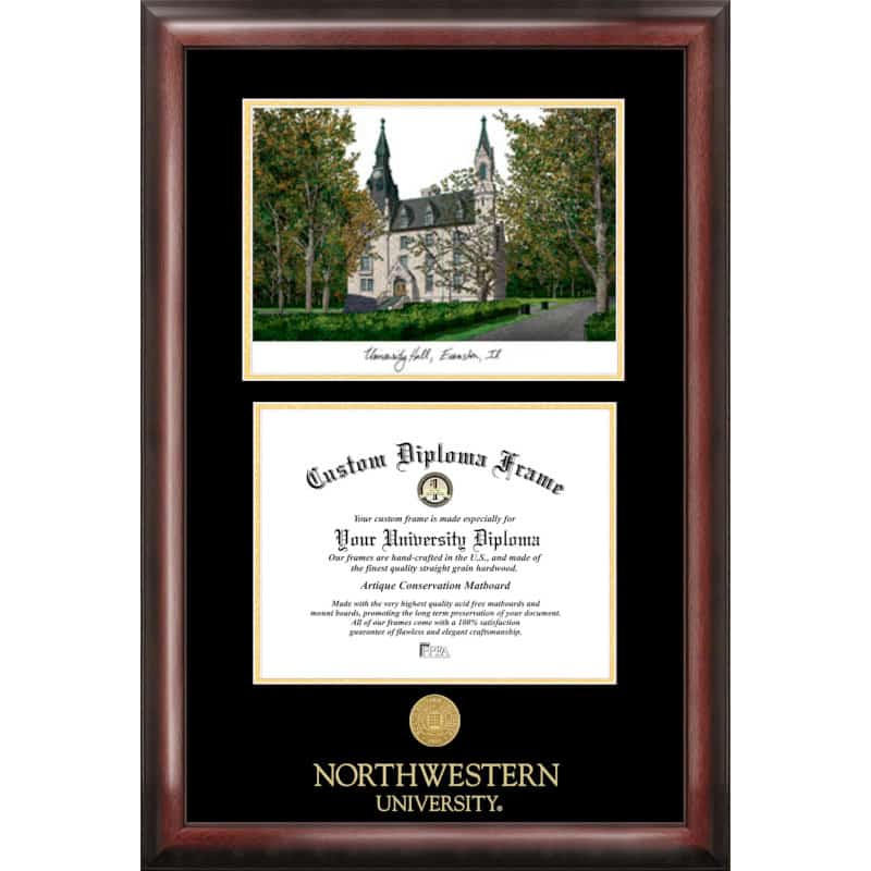 Northwestern University Gold Embossed Frame, University Hall Lithograph and Diploma opening