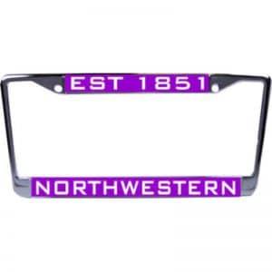 Northwestern Wildcats Chrome License Plate Frame with Laser Cut Acrylic Purple SET 1851 Northwestern Insert