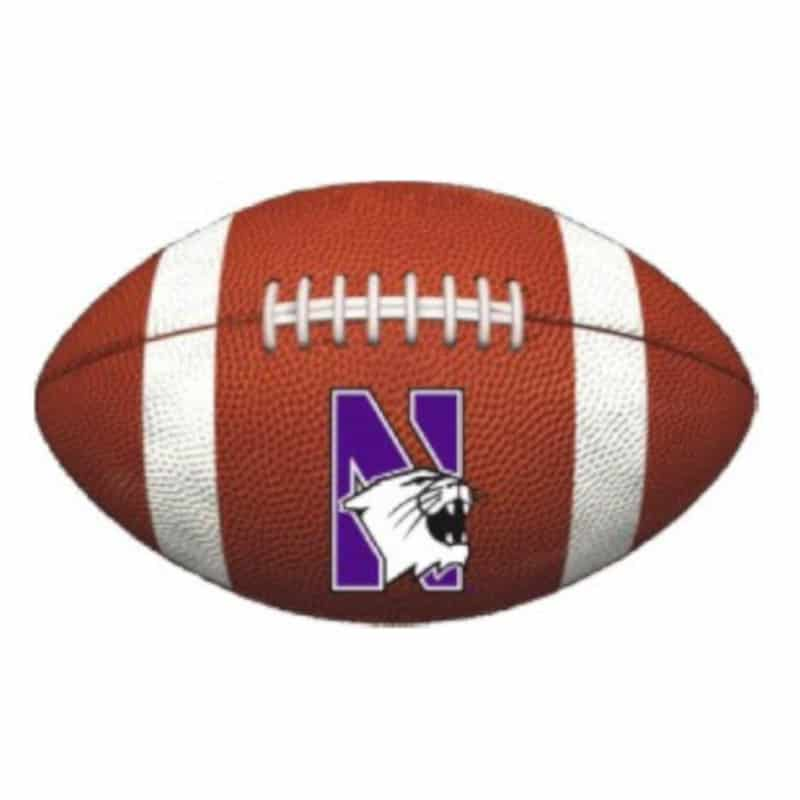 "Northwestern Wildcats Outside Application Decal with N-cat on a Full Color Football Ball Image 7.5"" x 4.7"""
