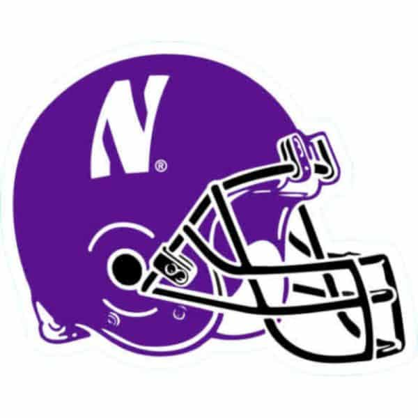 Northwestern Wildcats Outside Application Decal with N-cat on a Full Color Football Helmet Image