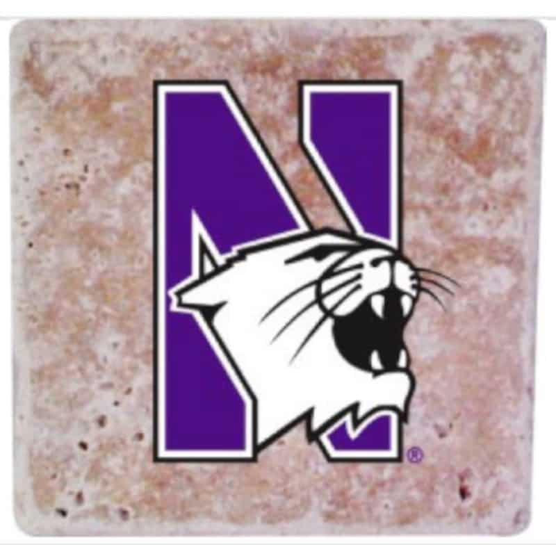 Northwestern Wildcats Stone Coasters with Multi Color N-Cat