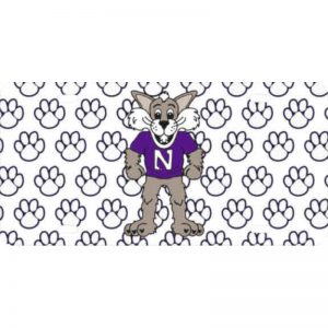 Northwestern Wildcats Thick   Mirrored Acrylic  Plate with Multicolor Willie The Wildcat Design