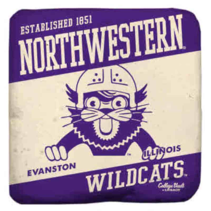 """Northwestern Wildcats Tumbled Coaster with """"Northwestern Wildcats & Helmet wearing Wildcat with 1851 Established Date"""" Design"""