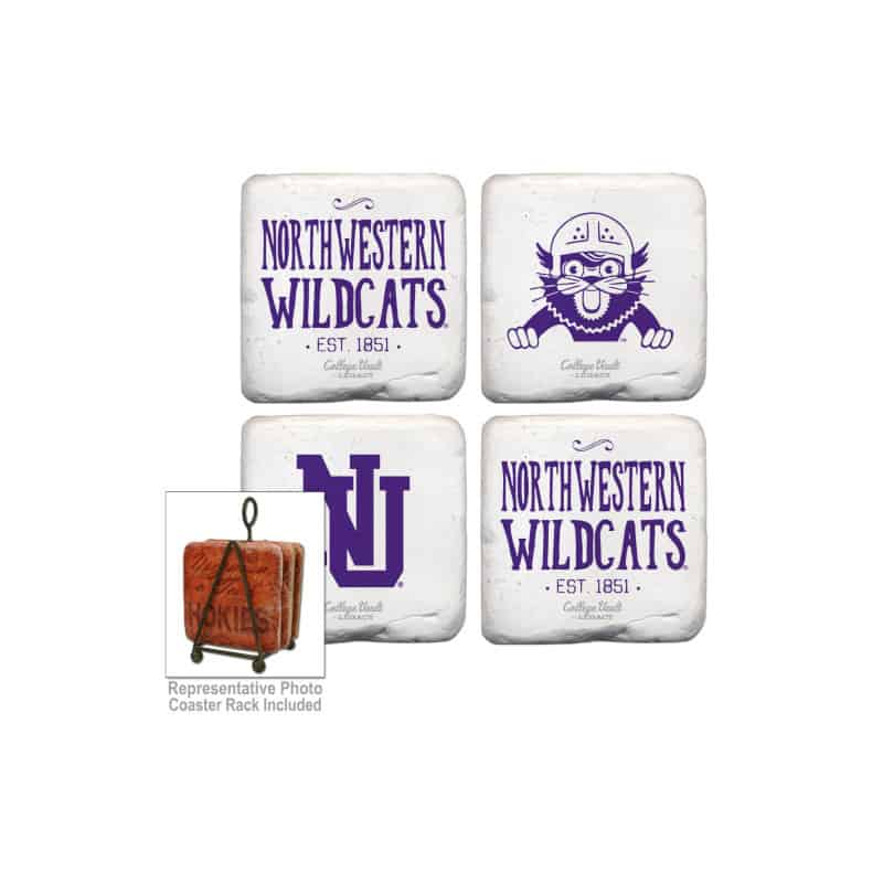 Northwestern Wildcats Tumbled Coaster Set of Four with Assorted Designs