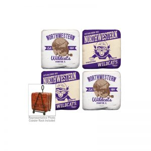 Northwestern Wildcats Tumbled Coaster Set of Four with Helmet Designs