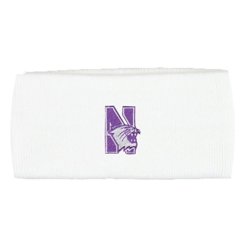 Northwestern Wildcats White Knit Headband with N-Cat Design