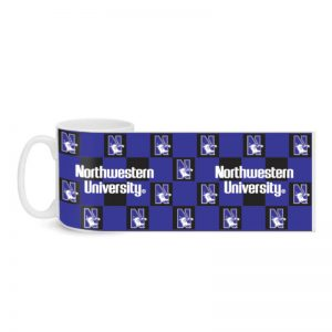Northwestern Wildcats 11 OZ Colormax Ceramic Coffee Mug with Full Color Checkerboard Design