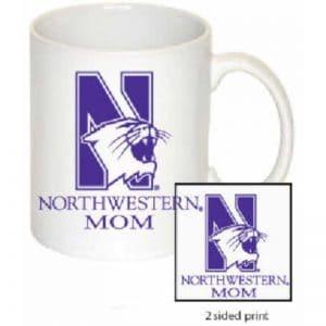 Northwestern Wildcats 11 oz. White Ceramic Coffee Mug  with MOM Design