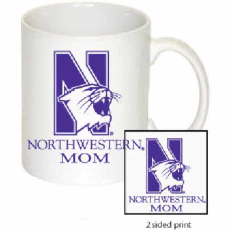 Northwestern Wildcats 11 oz. White Ceramic Coffee Mug  with MOM Design
