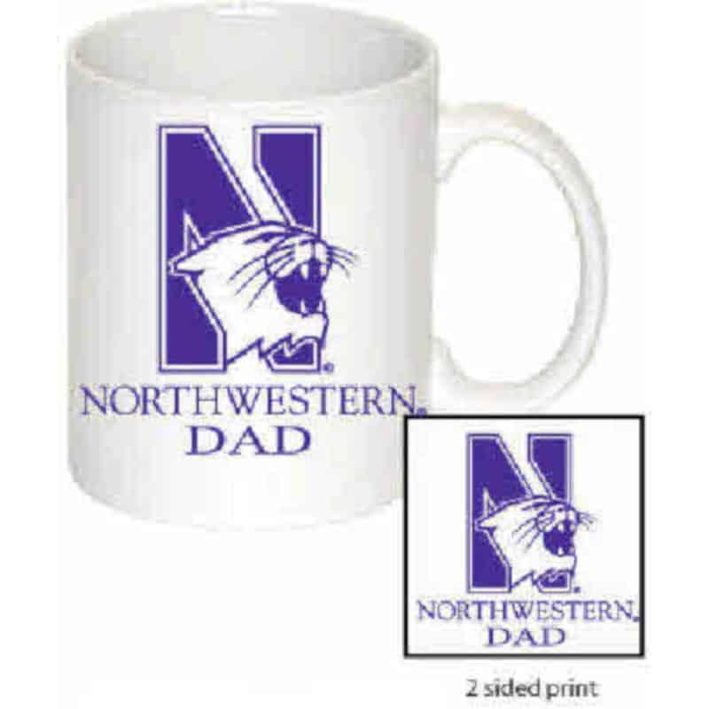 Northwestern Wildcats 11 oz. White Ceramic Coffee Mug  with DAD Design