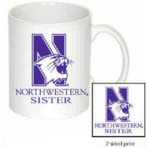 Northwestern Wildcats 11 oz. White Ceramic Coffee Mug  with Sister Design