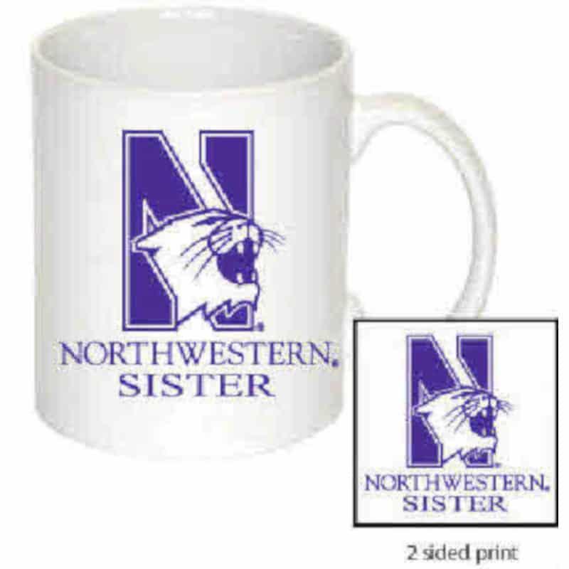 Northwestern Wildcats 11 oz. White Ceramic Coffee Mug  with Sister Design