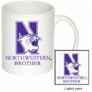 Northwestern Wildcats 11 oz. White Ceramic Coffee Mug  with Brother Design
