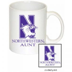 Northwestern Wildcats 11 oz. White Ceramic Coffee Mug  with Aunt Design