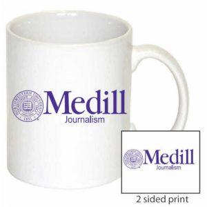 Northwestern Wildcats 11 oz. White Ceramic Coffee Mug  with Medill Design