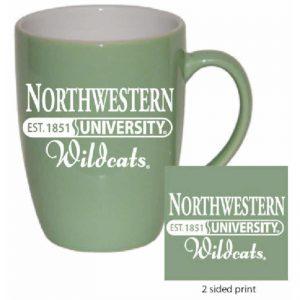Northwestern Wildcats 16 oz. Mint Bistro Ceramic Coffee Mug  with Northwestern University Established Date Design