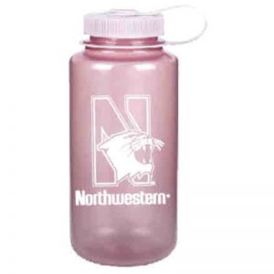 Northwestern University Wildcats 32 oz. Light Pink Tritan Wide Mouth Nalgene Water Bottle with N-Cat Design