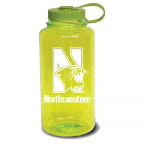 Northwestern University Wildcats 32 oz. Spring Green Tritan Wide Mouth Nalgene Water Bottle with N-Cat Design