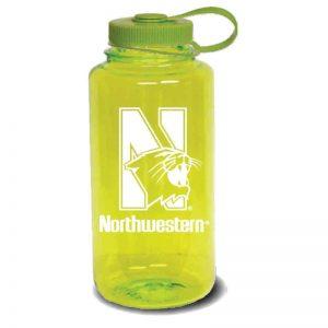 Northwestern University Wildcats 32 oz. Spring Green Tritan Wide Mouth Nalgene Water Bottle with N-Cat Design