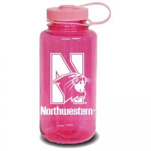 Northwestern University Wildcats 32 oz. Dark Pink Tritan Wide Mouth Nalgene Water Bottle with N-Cat Design