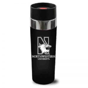 "Northwestern Wildcats 16 oz. Black Double Wall Insulated Venti Travel Mug with Multi Color ""Northwestern University"" Design"