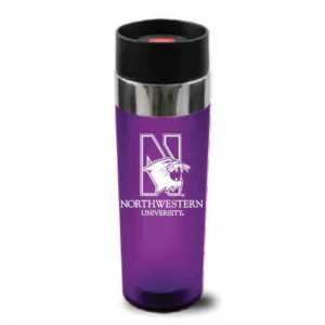 "Northwestern Wildcats 16 oz. Purple Double Wall Insulated Venti Travel Mug with Multi Color ""Northwestern University"" Design"