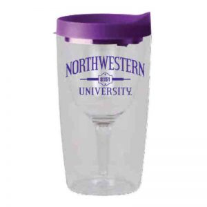 "Northwestern Wildcats Tumbler Wine Glass with ""Northwestern University 1851"" Design"