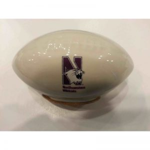 Northwestern Wildcats Small Football Shape Piggy Bank with N-Cat Design