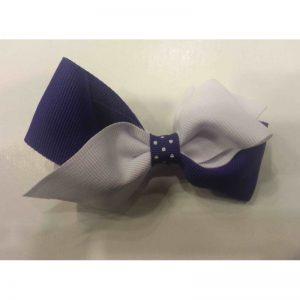 Purple & White Loop Bow