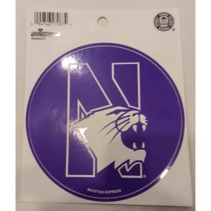 """Northwestern Wildcats Purple Round Sticker Decal 4.5"""" with """"N-Cat"""" Design"""