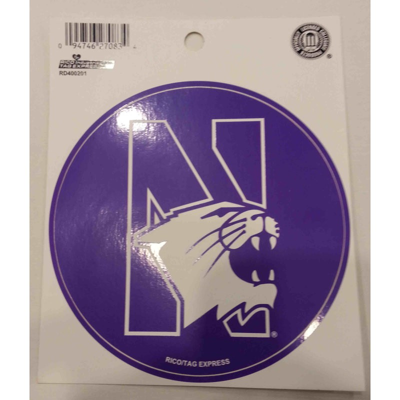 "Northwestern Wildcats Purple Round Sticker Decal 4.5"" with ""N-Cat"" Design"