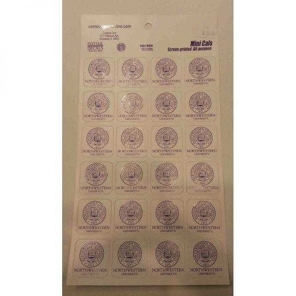 """Northwestern Wildcats Sticker Sheet of 24 Seal Design 1.5"""" Square Decals"""
