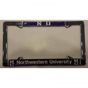 "Northwestern Wildcats Crome License Plate Frame with ""NU & Northwestern University"" Design"