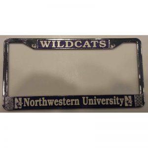 "Northwestern Wildcats Crome License Plate Frame with ""Wildcats & Northwestern University"" Design"