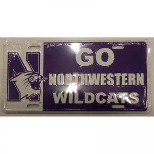 "Northwestern Wildcats Metal License Plate with ""N-Cat & Go Northwestern Wildcats"" Design"