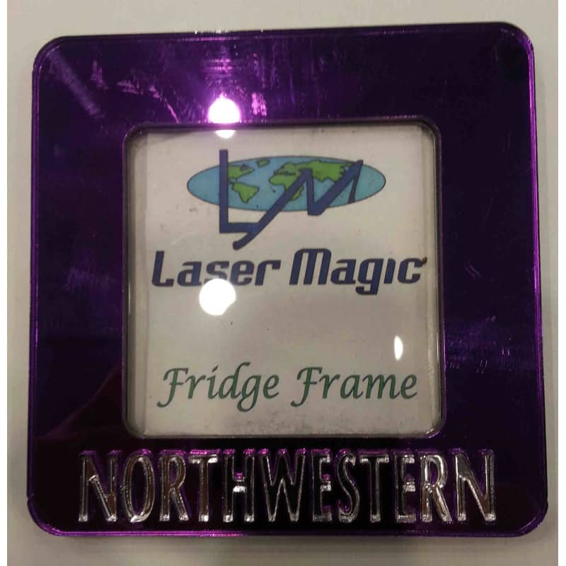 """Northwestern Wildcats Lase Cut Acrylic Purple Magnetic Picture Frame with 2.5""""X2.5"""" Openning"""