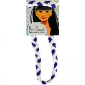 Purple/White Pom Braid Headband By Pomchies
