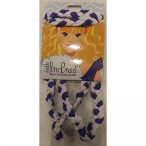 Purple/White Double Pom Braid Headband By Pomchies