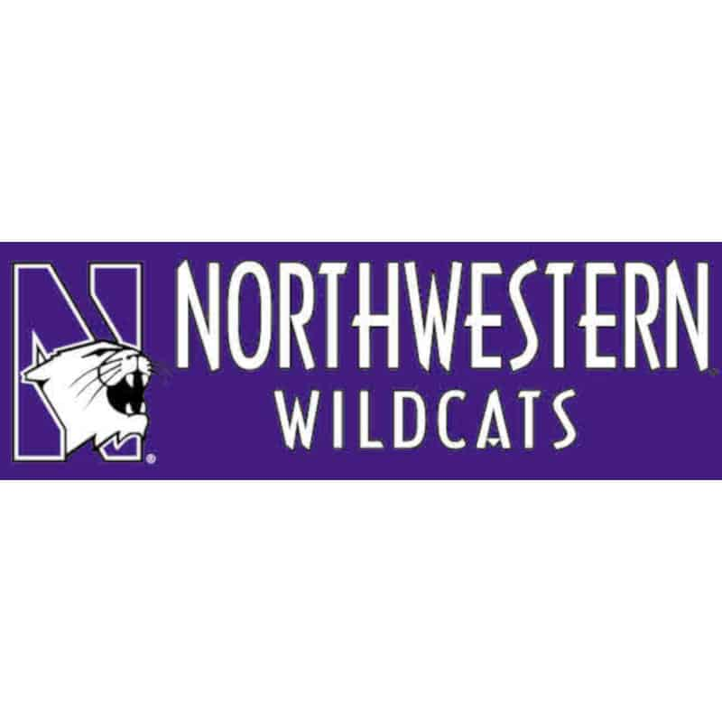 "Northwestern Wildcats Bumper Sticker 3""X9"""