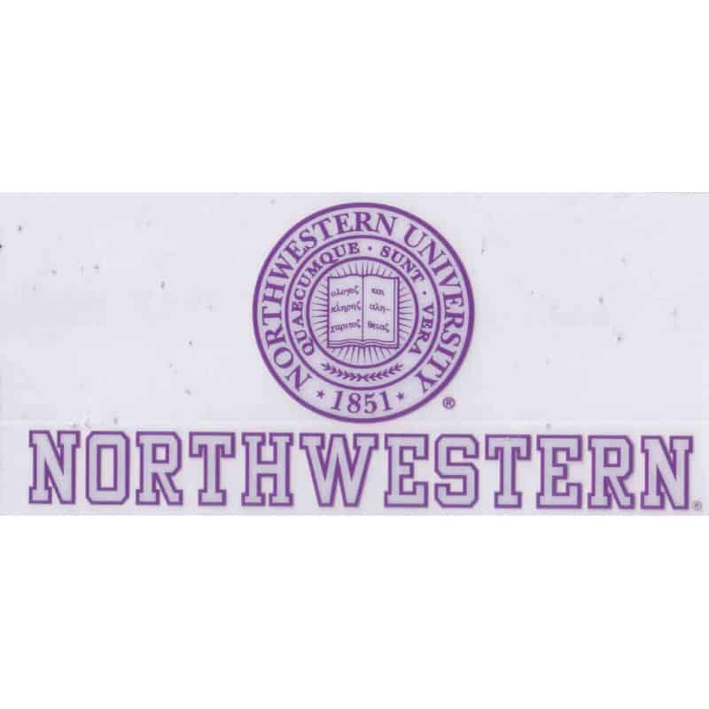 "Northwestern Wildcats Static Cling Inside Application Decal with Seal Design 3.5""X7.5"""
