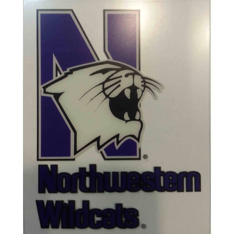 "Northwestern Wildcats Static Cling Outside Application Decal with Mascot Design 3.5""X4.5"""